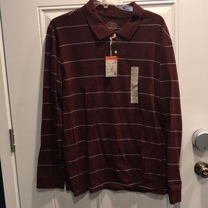 Men's Burgundy Striped Polo XL